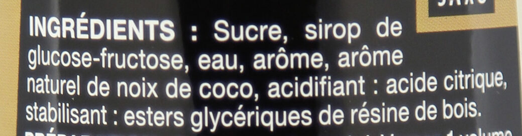 Sirop de Noix de Coco - Ingredients - fr