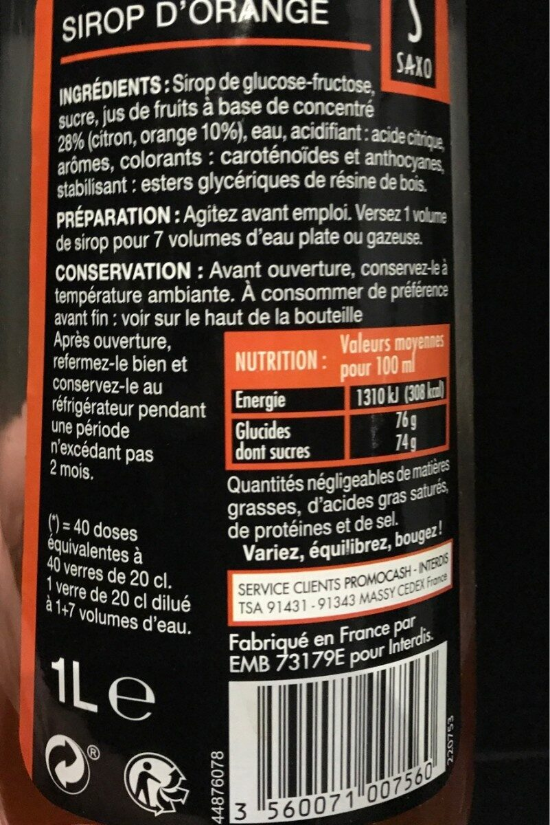 Sirop d'orange - Ingredienti - fr