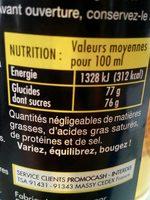 Sirop de citron clair - Valori nutrizionali - fr