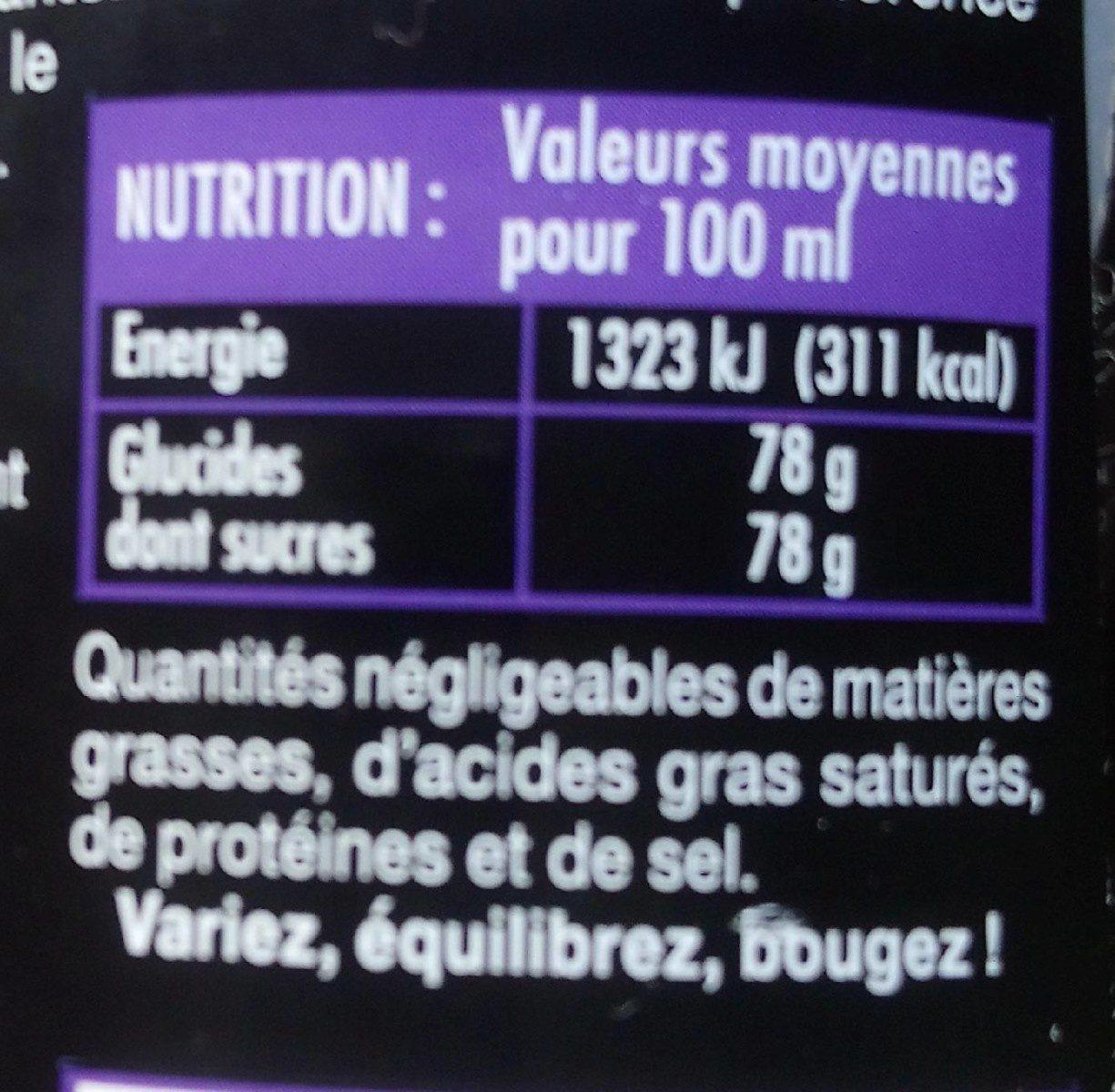 Sirop saveur violette - Valori nutrizionali - fr