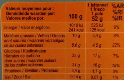 Ice sweet - Nutrition facts - fr