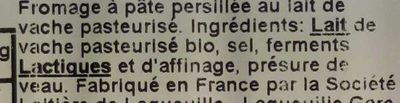 Fourme d'Ambert Bio - Ingrédients - fr