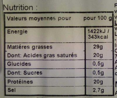 Fourme d'Ambert Bio - Nutrition facts - fr
