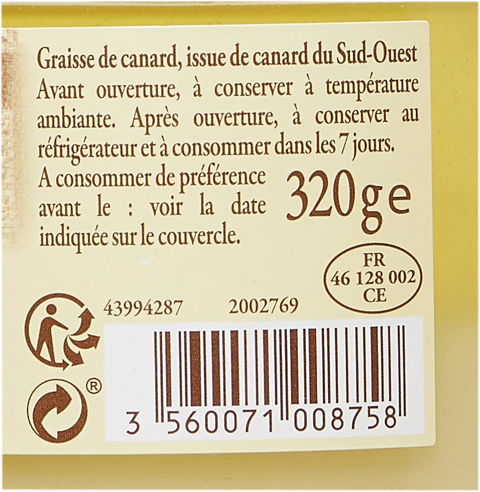 Graisse de canard du Sud-Ouest - Ingredients - fr