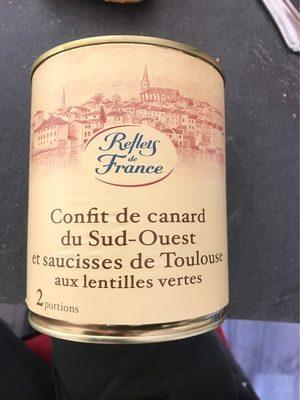 Plat cuisiné canard saucisses lentilles - Produit - fr