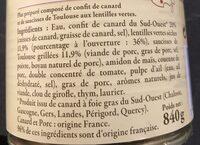 Plat cuisiné canard saucisses lentilles - Ingrédients - fr