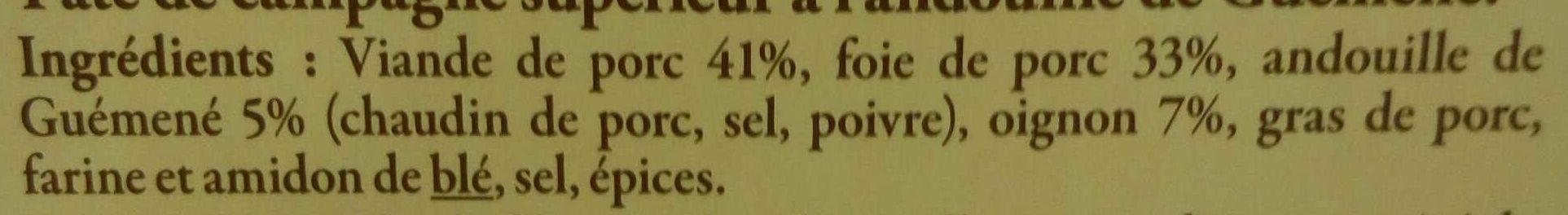 Pâte de campagne à l'andouille de Guémené - Ingrédients