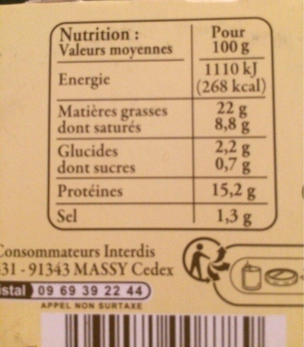 Pâte de campagne à l'andouille de Guémené - Informations nutritionnelles