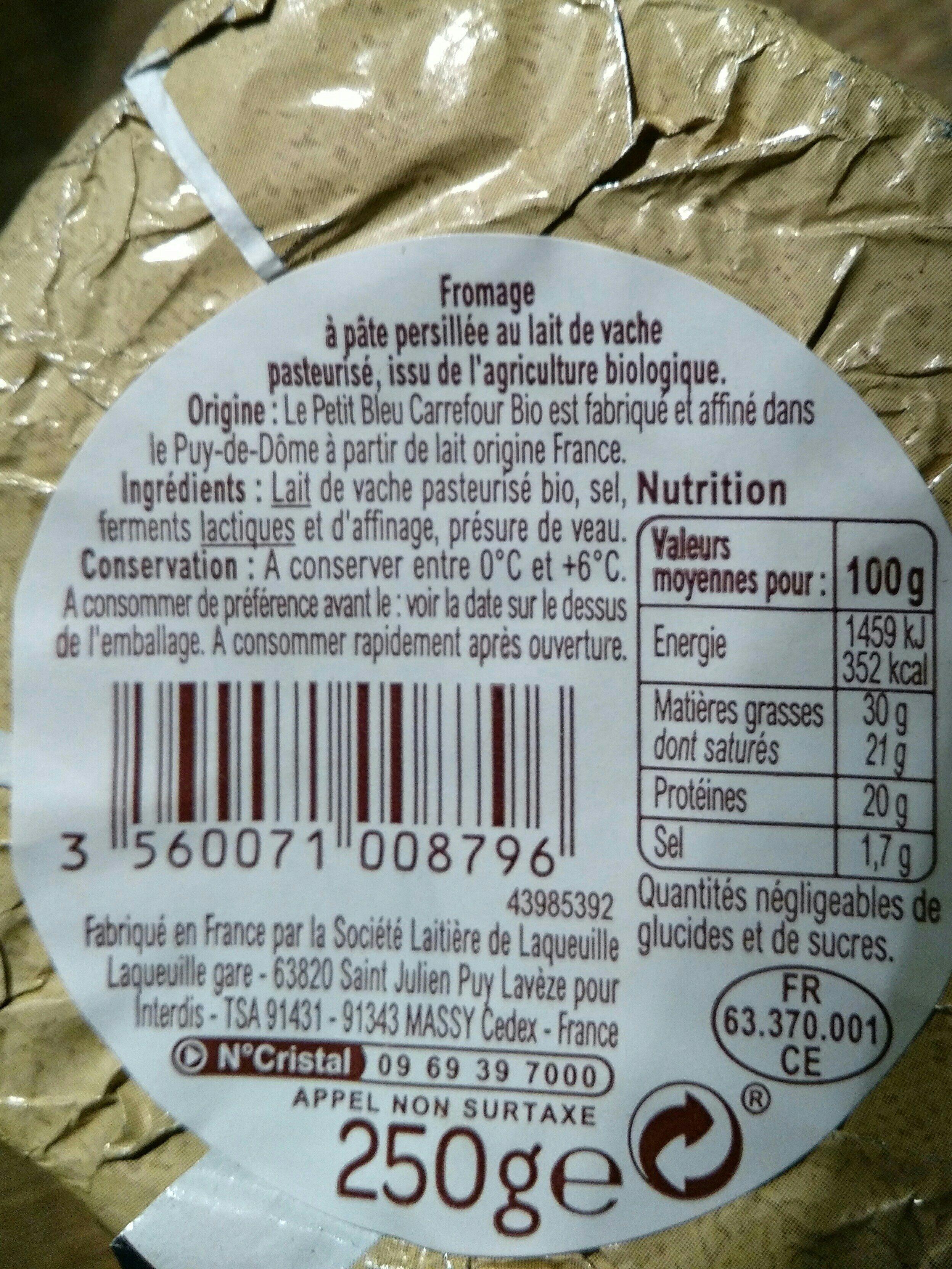 Fromage bio petit bleu crémeux Bio - Ingrédients - fr