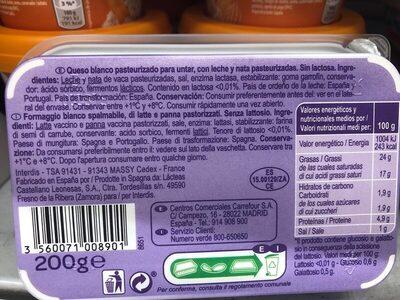 Fromage à tartiner - Ingredientes