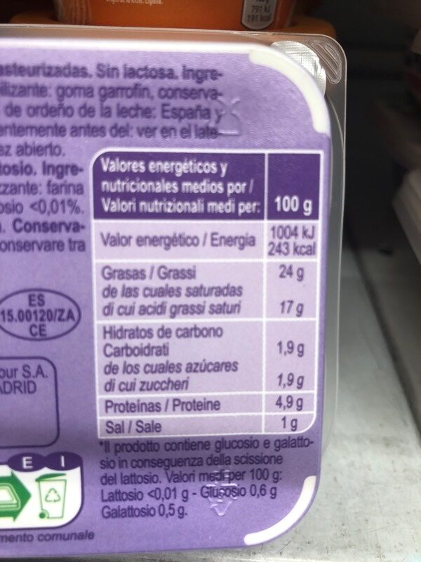 Fromage à tartiner - Información nutricional
