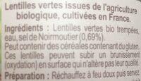 Lentilles vertes au sel de Noirmoutier - Ingrédients - fr