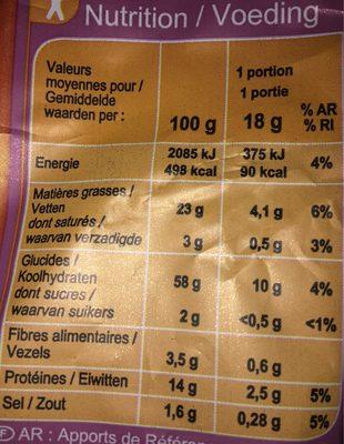 Biscuits apéritifs croustillants cacahuète - Voedingswaarden - fr