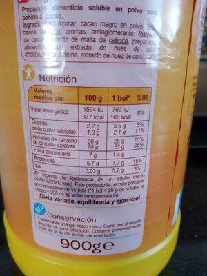 Soluble al Cacao - Información nutricional