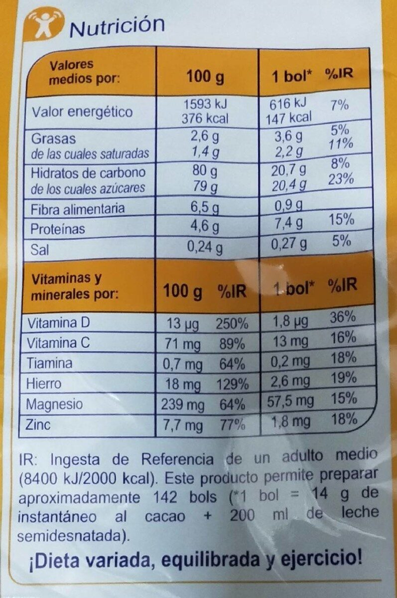 instantáneo al cacao - Información nutricional
