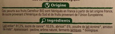 Yaourt au lait entier  Abricot mixé Avec arôme naturel - Ingrediënten - fr