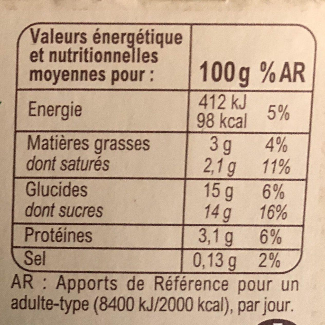 Yaourt au lait entier  Abricot mixé Avec arôme naturel - Voedingswaarden - fr