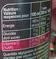 Pomme betterave raisin cassis - Valori nutrizionali - fr