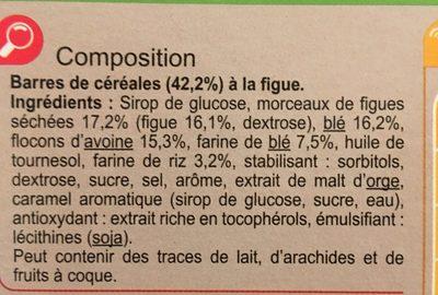Barres Céréales Figue - Ingredients
