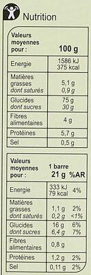 Barres Céréales Saveur Figue - Informations nutritionnelles - fr