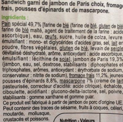 Briochon jambon fromage frais pousses d'épinards et mascarpone - Ingredients