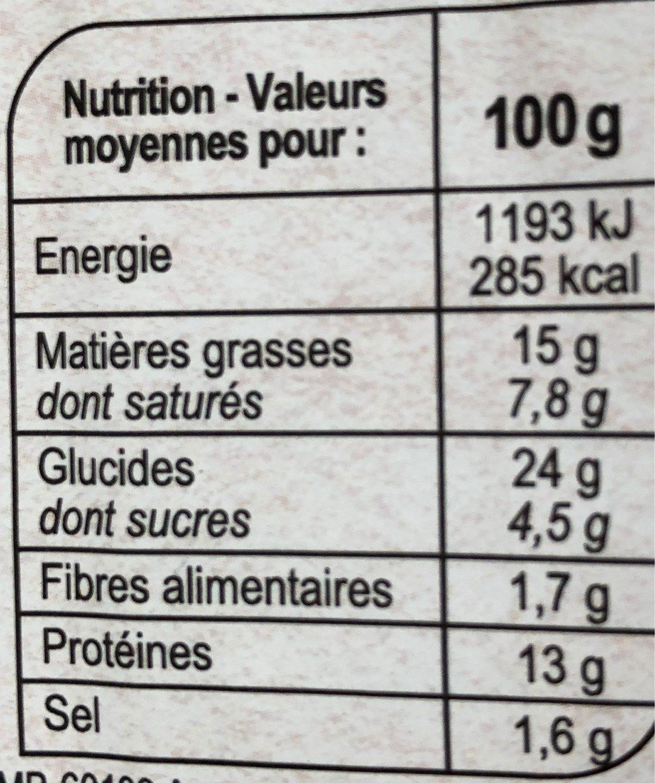 Briochon poulet cheddar et sauce au curry - Nutrition facts