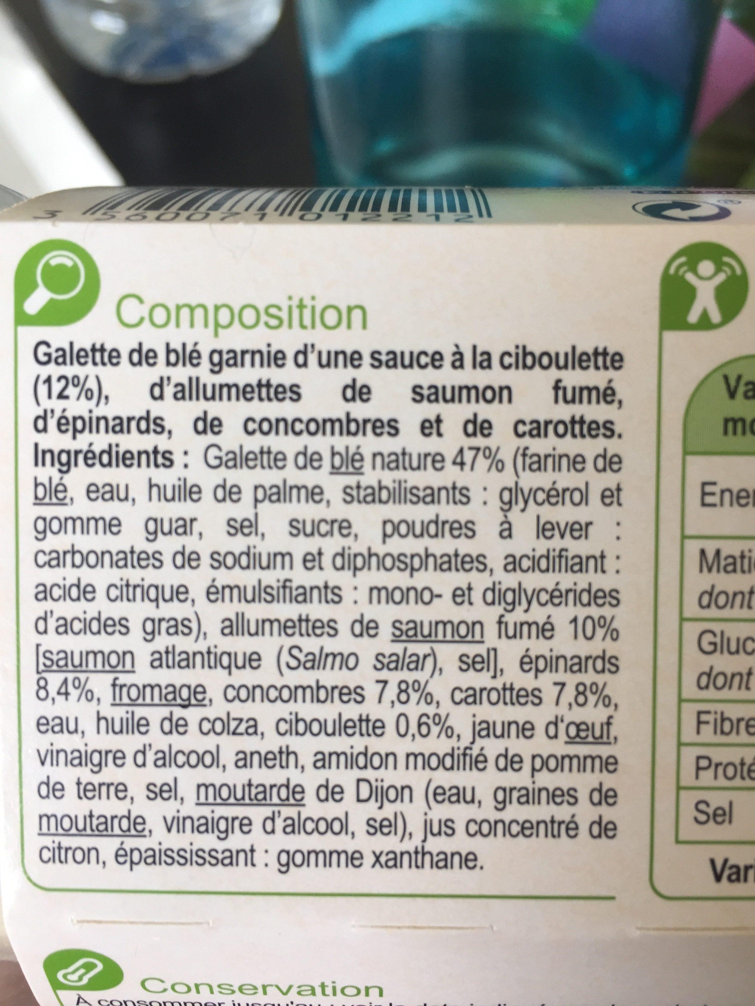 Saumon fume carottes et concombres wrap - Ingredients - fr