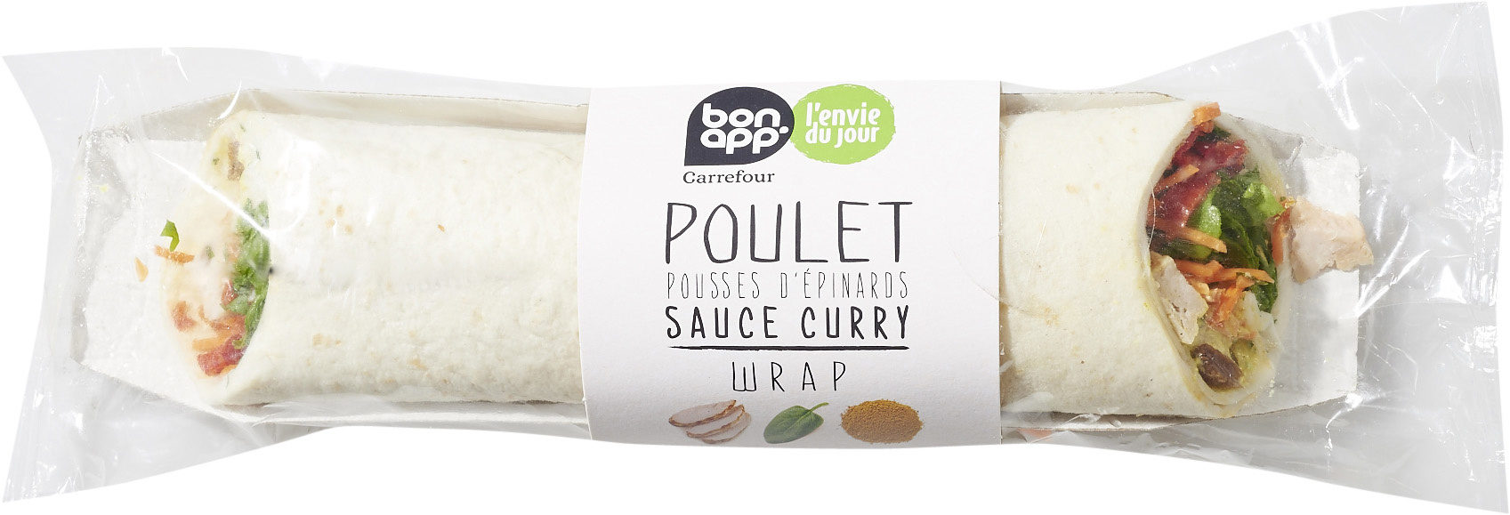 Poulet pousses d'épinards sauce curry wrap - Product - fr