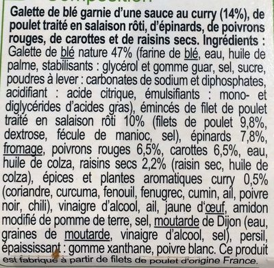 Poulet pousses d'épinards sauce curry wrap - Ingrédients - fr