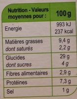 Poulet pousses d'épinards sauce curry wrap - Nutrition facts - fr