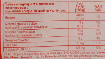 Yaourt soja fraise - Nutrition facts