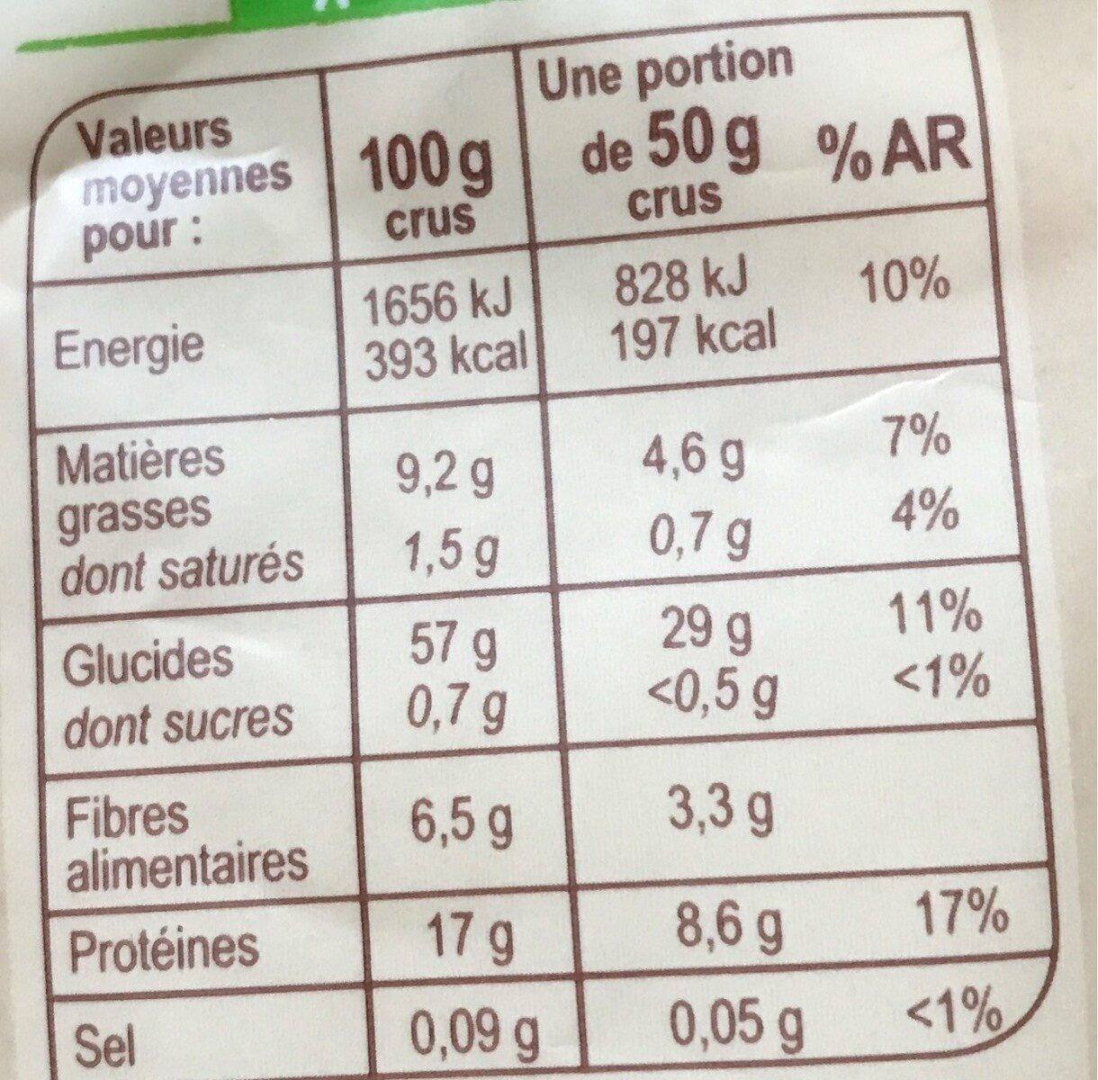 Mélange épeautre, lentilles corail, graines de sésame - Información nutricional - fr