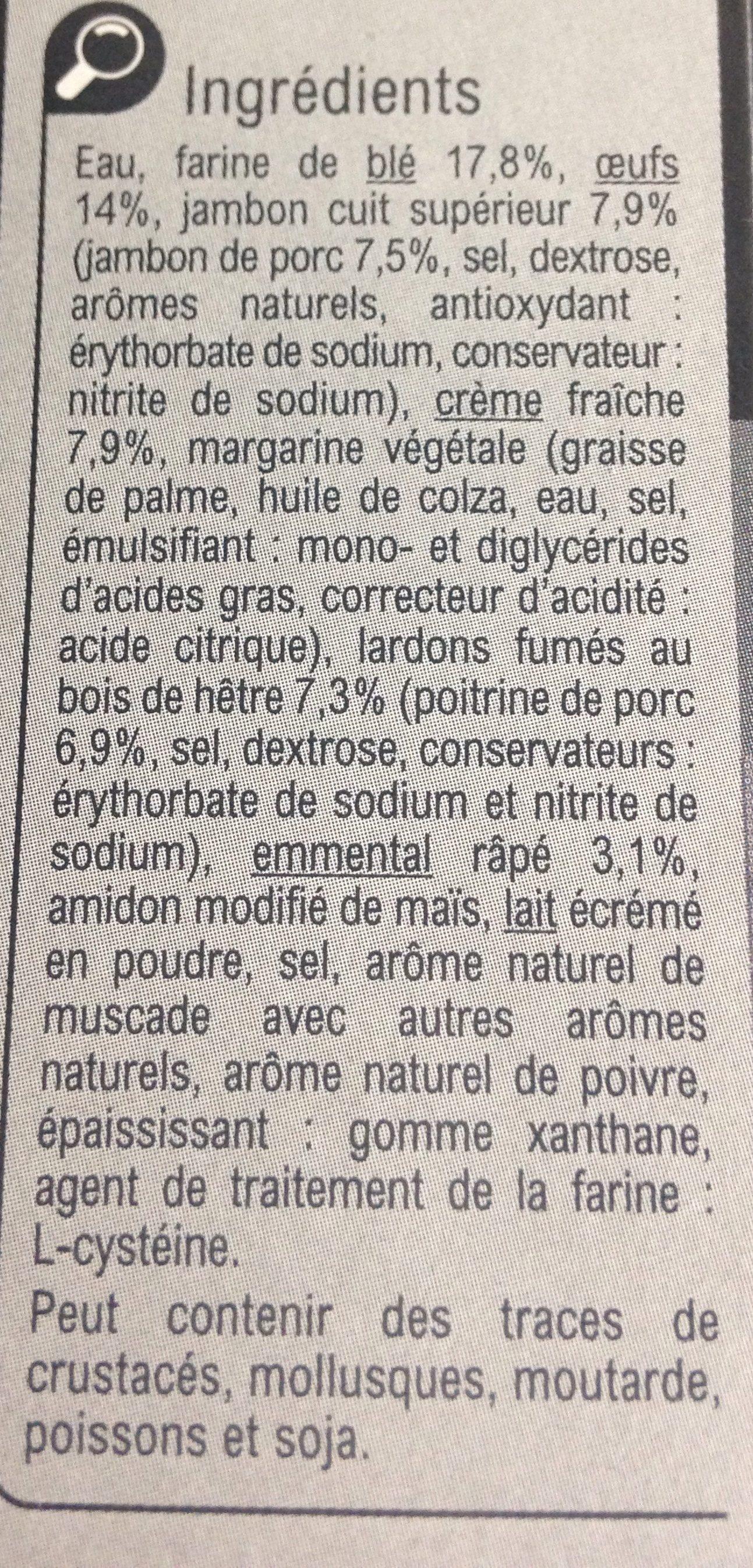 Quiche Lorraine - Ingrédients