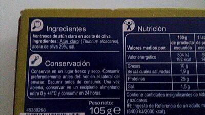Ventresca de atún claro - Ingredientes