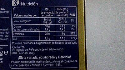 Ventresca de atún claro - Información nutricional - es