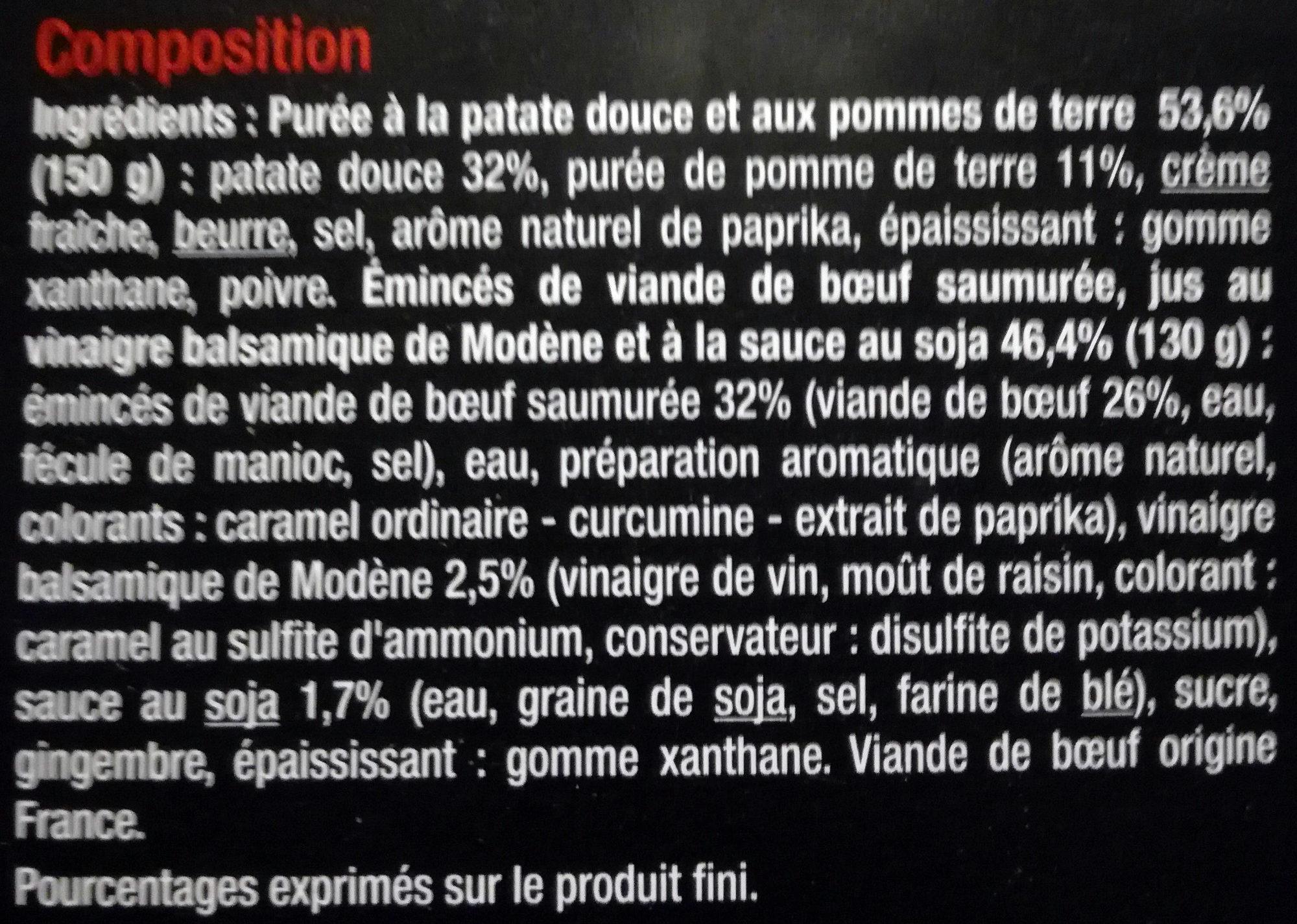 Émincés de bœuf au vinaigre balsamique sauce au soja et purée à la patate douce - Ingrédients - fr