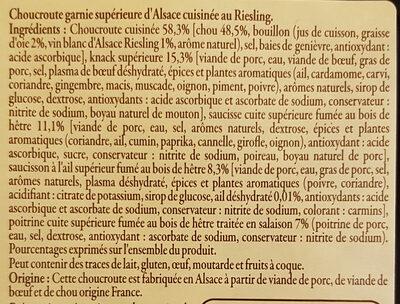 Choucroute garnie à l'Alsacienne - Ingrédients - fr