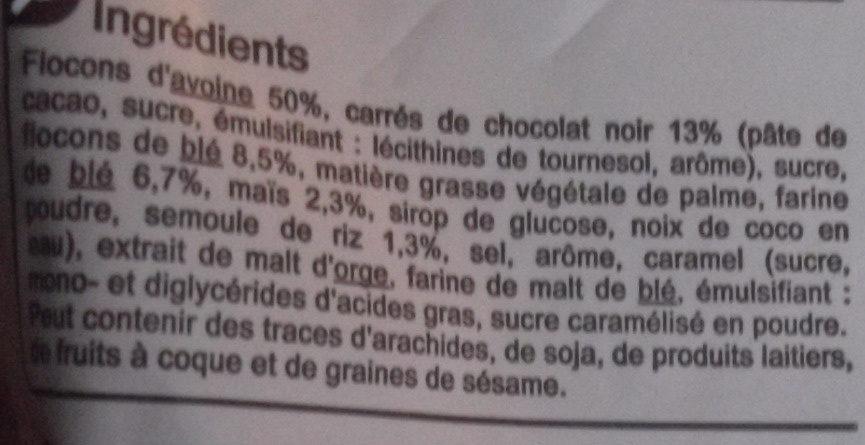 Crunchy Chocolat noir intense - المكونات - fr