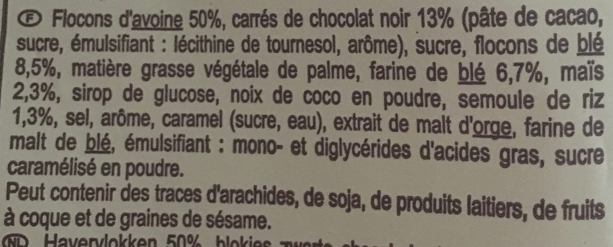 Crunchy Chocolat noir intense - Ingrediënten - fr