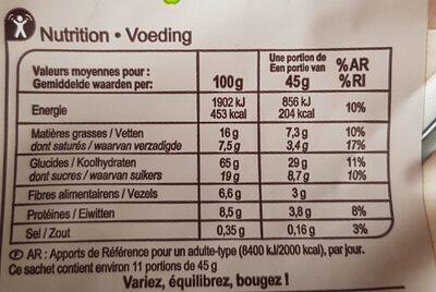 Crunchy Chocolat noir intense - Voedingswaarden - fr