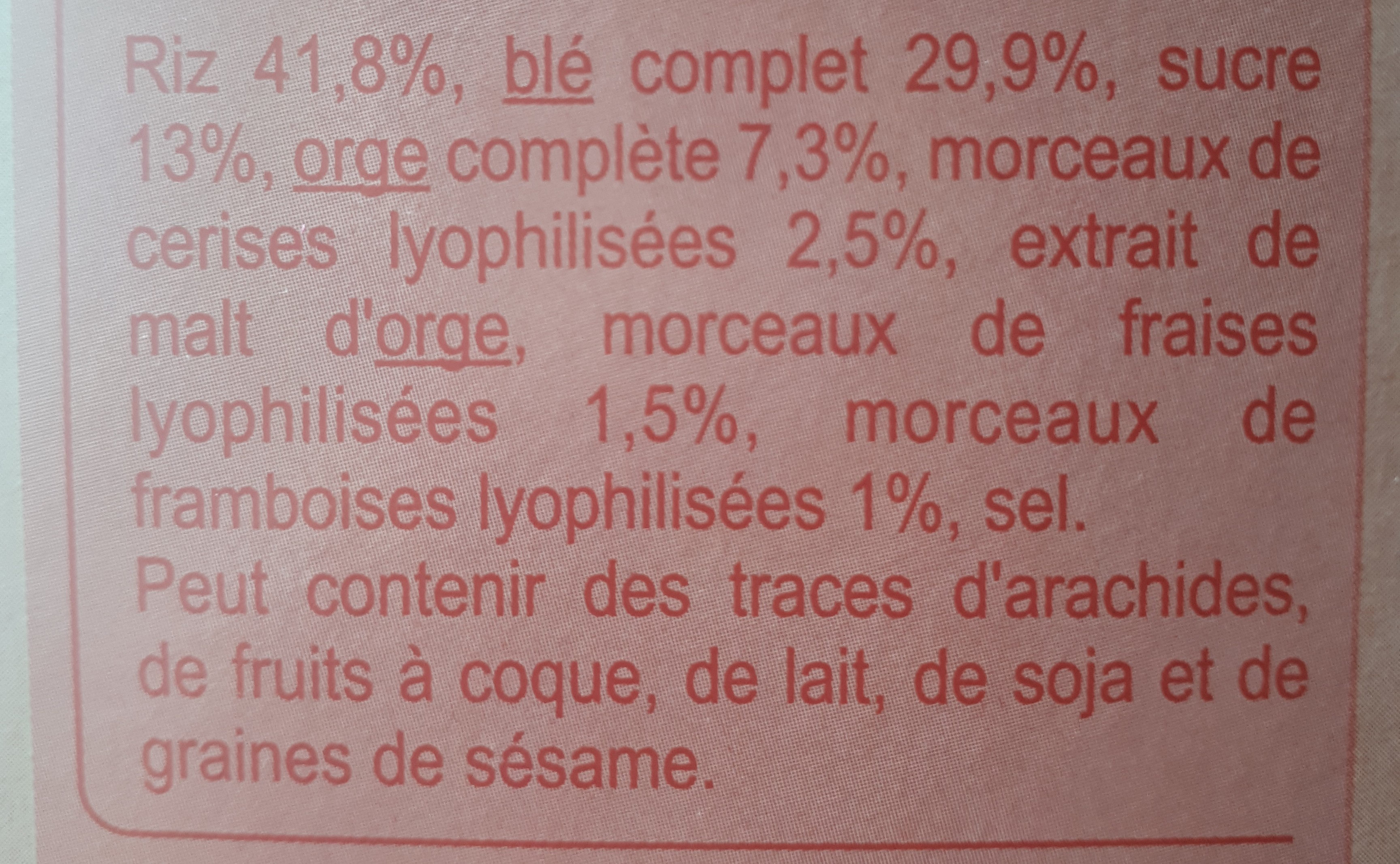 Stylesse Fruits Rouges - Ingredients - fr