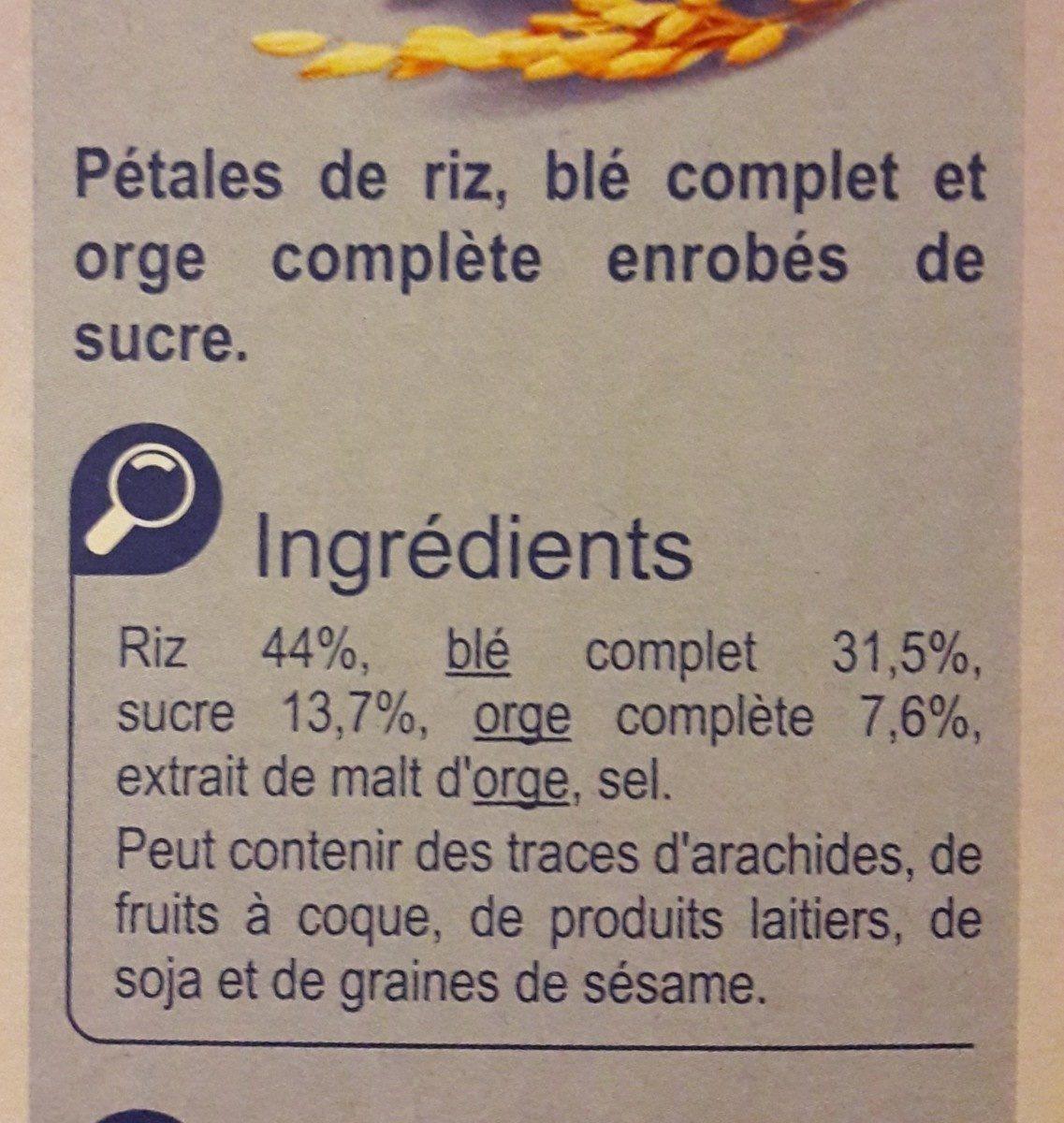 Stylesse pétales de riz, blé complet et orge complète - Ingredientes - fr
