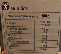Stylesse pétales de riz, blé complet et orge complète - Información nutricional - fr