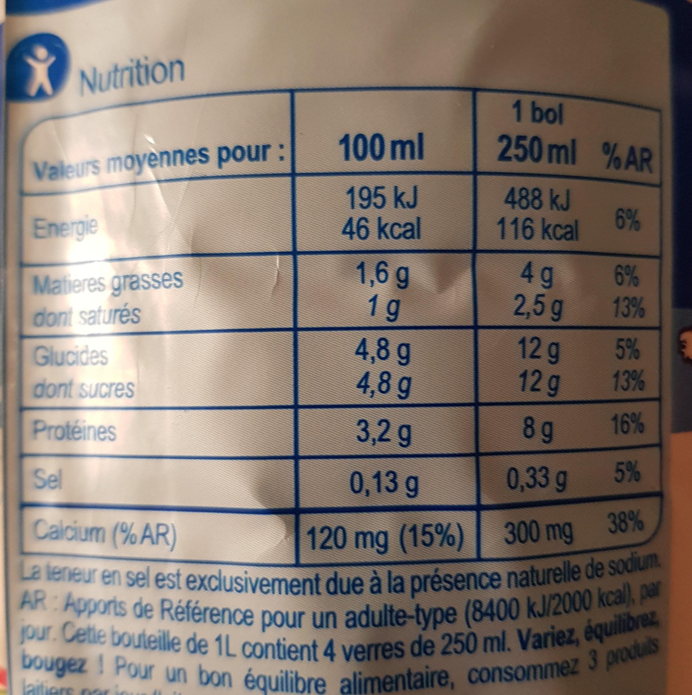 Lait des plaines de la Loire - Valori nutrizionali - fr