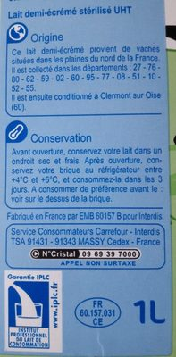 Lait demi-écrémé des plaines du Nord de la France - Ingrediënten
