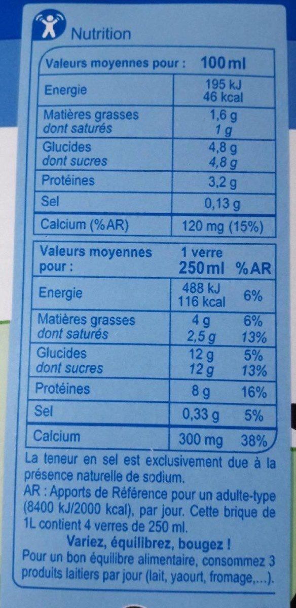 Lait demi-écrémé des plaines du Nord de la France - Voedingswaarden