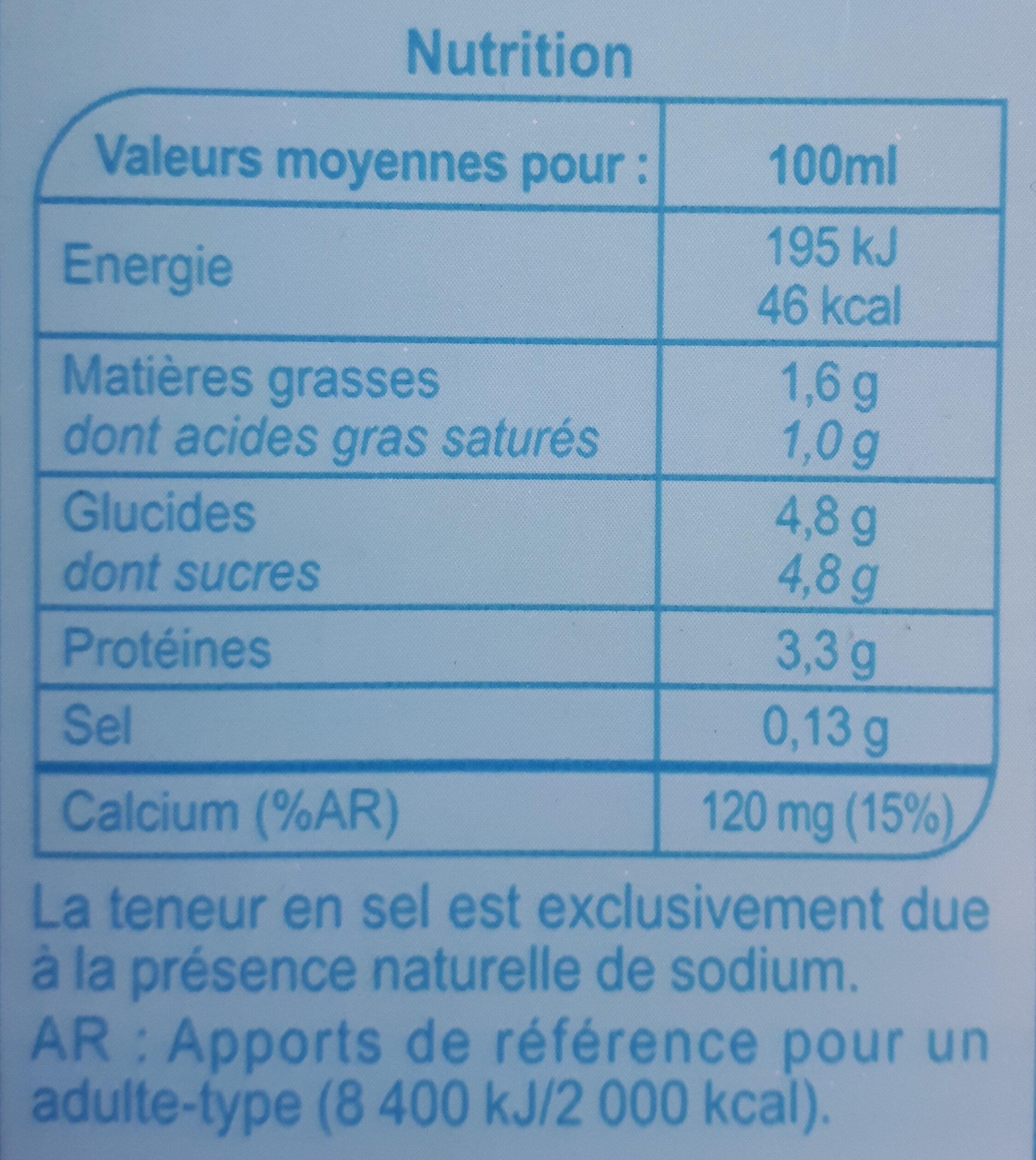Lait des plaines de La Loire - Informations nutritionnelles - fr