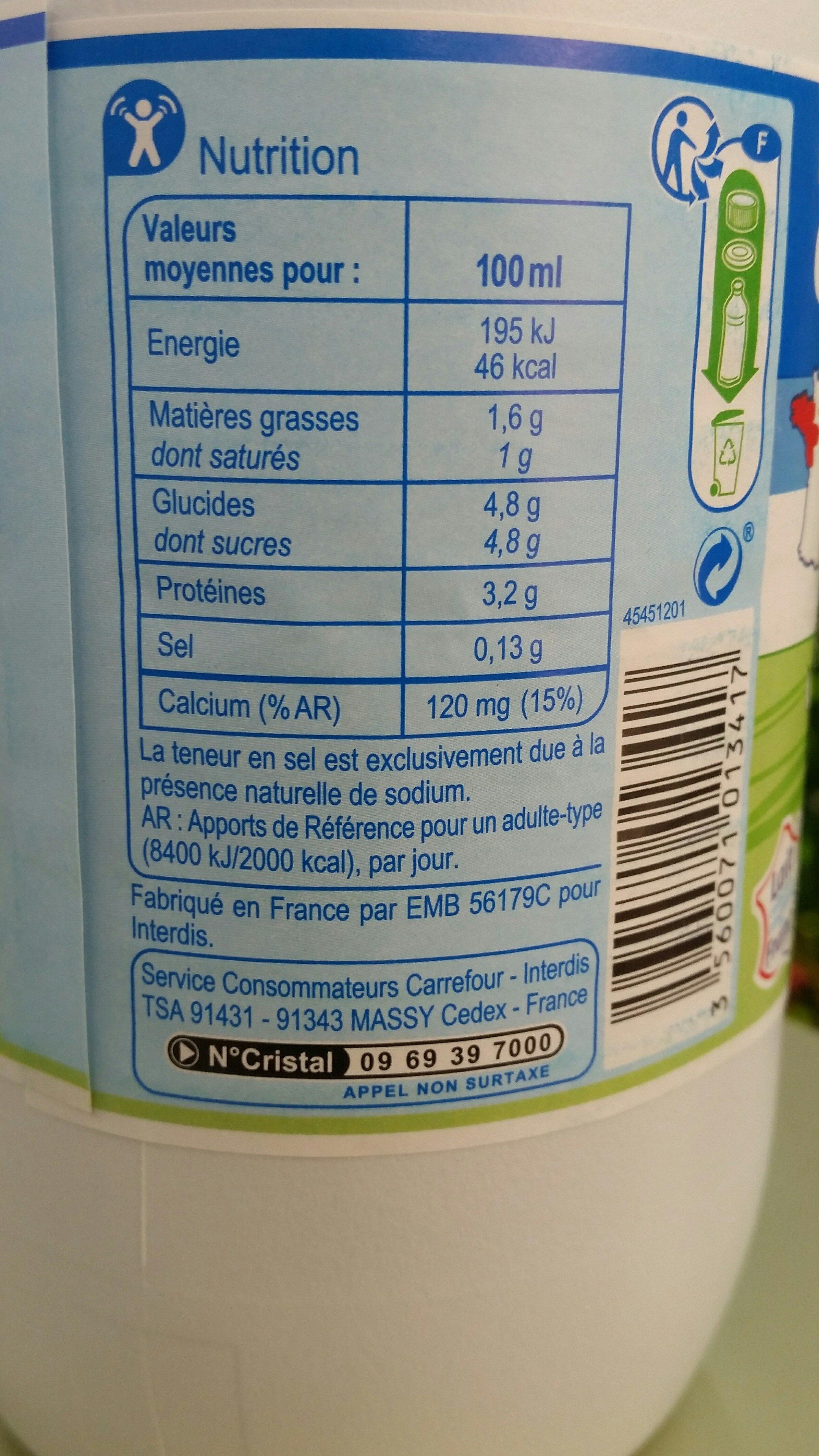Lait des plaines de La Loire - Nutrition facts