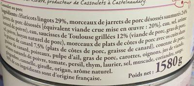 cassoulet de Castelnaudary aux viandes de porc et saucisses de Toulouse - Ingrediënten