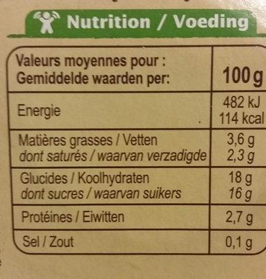 Flan nappé de caramel Bio - Informations nutritionnelles